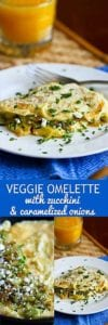 This veggie omelette packs in a ton of flavor and is ready in less than 20 minutes. It's perfect for brunch or a quick, healthy dinner! 163 calories and 1 Weight Watchers Freestyle SP #vegetarian #eggs #omelet