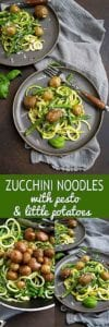 Easy, healthy recipe! Zucchini noodles with pesto, potatoes and green beans is packed with summertime vegetables. 139 calories and 5 Weight Watchers SP #vegetarianrecipes #weightwatchers #myfitnesspal