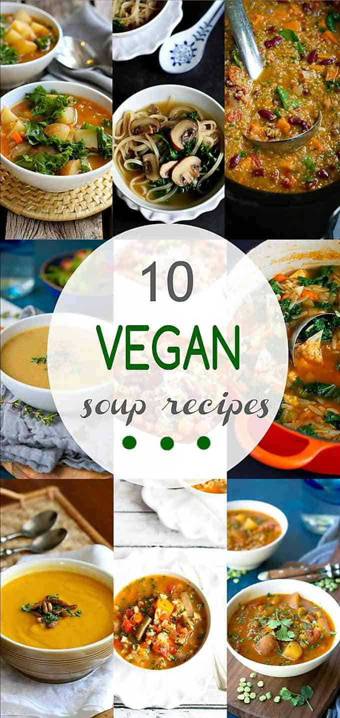 Looking for an easy meatless dinner recipe? These 10 Vegan Soup Recipes are favorites in our family. Hearty and delicious! #vegetarian #soup #vegan