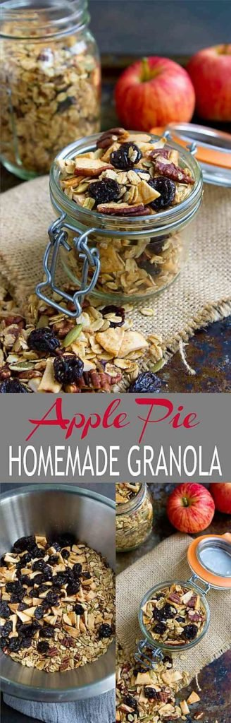 We love this Apple Pie Homemade Granola recipe. We make a big batch and use it for easy breakfasts and snacks. Sweetened with maple syrup. 121 calories and 5 Weight Watchers Freestyle SP #homemadegranola #wwfreestyle #breakfastrecipes