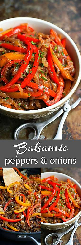 Balsamic Peppers and Onions…Serve these on top of grilled sausages, chicken or fish. Tons of flavor in just a forkful! 94 calories and 1 Weight Watchers SP #sidedish #weightwatchers #vegetarian