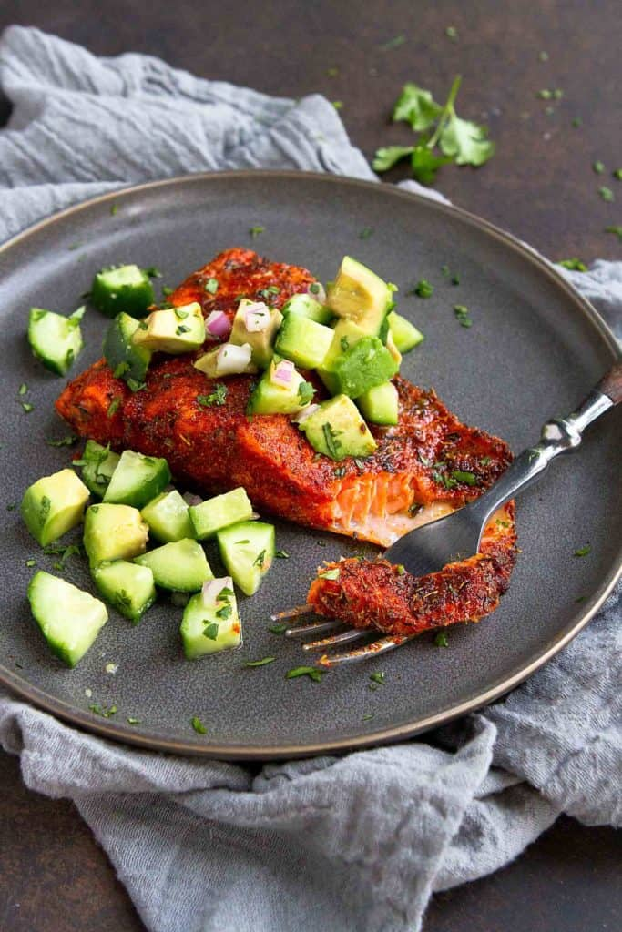 Blackened Air Fryer Salmon Recipe With Cucumber Avocado Salsa
