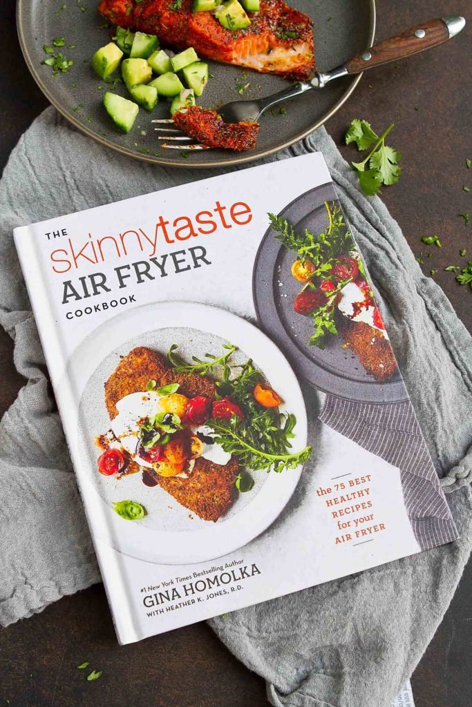 The Skinnytaste Air Fryer Cookbook, with a plate of blackened salmon.