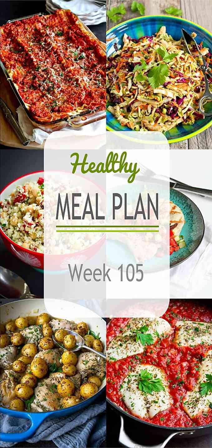 This week's healthy meal plan is a mixture of old favorites and new easy dinner recipes. Lots of options for the busy weekdays and weekend entertaining. #mealplanning #mealprep #dinnerrecipes