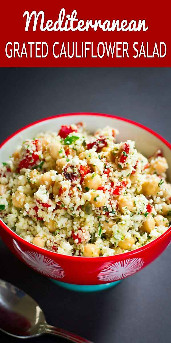 Serve this vegan grated cauliflower rice as an entree or side dish. Fantastic flavor in just 15 minutes! 270 calories and 3 Weight Watchers SP #vegan #meatlessmonday #cauliflowerrecipes