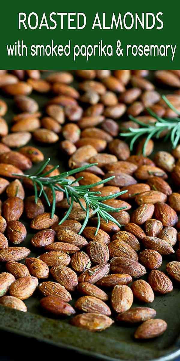 Roasted almonds, dressed up with rosemary and smoked paprika, are great for snacking or cocktail party nibbles. 163 calories and 5 Weight Watchers SP #healthysnacks #almonds #roasted