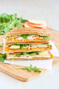 This turkey panini recipe is always a favorite in our house. The simple mix of turkey, apple, Cheddar cheese and arugula is delightfully simple and tasty. 235 calories and 5 Weight Watchers SP #panini #healthyrecipes #weightwatchers
