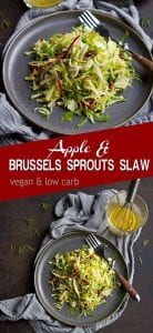 The ultimate fall salad! This Apple and Brussels Sprouts Slaw is a breeze to make, and is packed with nutty, sweet and savory flavors. 88 calories and 2 Weight Watchers SP | Healthy | Recipes | Easy | Dressing | Easy | Vegan | Shredded | Raw | Lemon #brusselssprouts #brusselsprouts #slawrecipes #saladrecipes #sidedishes