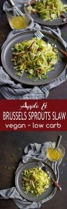 This easy slaw recipe is filled with fall flavors. Brussels sprouts, apple and pecans, plus fresh herbs. 88 calories and 2 Weight Watchers SP | Healthy | Recipes | Easy | Dressing | Easy | Vegan | Shredded | Raw | Lemon #brusselssprouts #brusselsprouts #slawrecipes #saladrecieps #sidedishes
