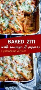 Baked ziti with sausage and peppers is fantastic for feeding a crowd! Make ahead options are included, which makes entertaining or weeknight cooking even easier. 332 calories and 7 Weight Watchers SP | Without Ricotta | Easy | With Italian Sausage | Recipe | For a Crowd #bakedziti #healthypastarecipes #foracrowd #weightwatchers
