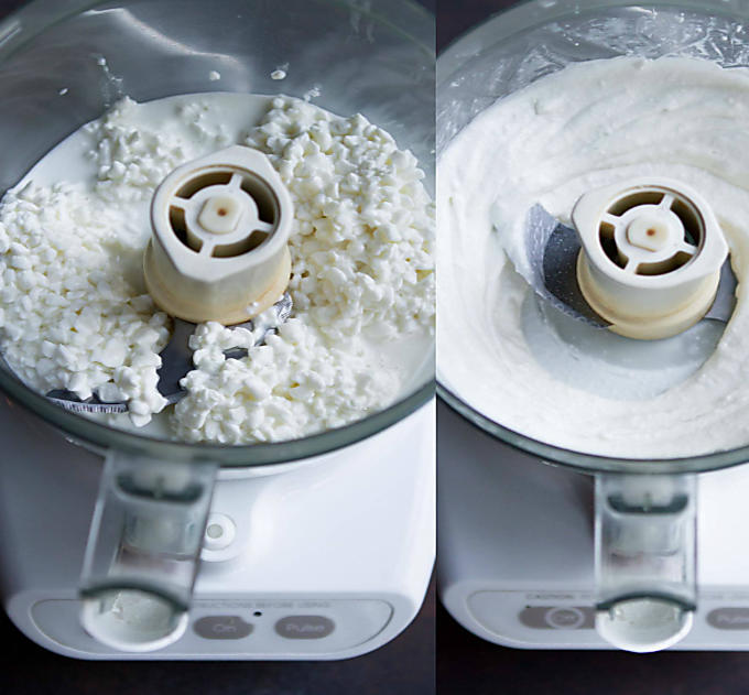 Collage of two photos. Pureeing cottage cheese in a food processor.