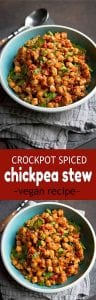 "This Crockpot Spiced Chickpea Stew (Vegan) is one of the first meatless meals I fell in love with. So much flavor and your kitchen will smell amazing! 295 calories and 1 Weight Watchers SP | Vegetarian | Slow Cooker | Mediterranean | Easy | Dinner | Healthy | Spinach #cookincanuck #veganrecipes #crockpotrecipes"" src=""https://www.cookincanuck.com/wp-content/uploads/2019/10/Crockpot-Spiced-Chickpea-Stew-Vegan-Cookin-Canuck-8.jpg"" alt=""This Crockpot Spiced Chickpea Stew (Vegan) is one of the first meatless meals I fell in love with. So much flavor and your kitchen will smell amazing! 295 calories and 1 Weight Watchers SP 