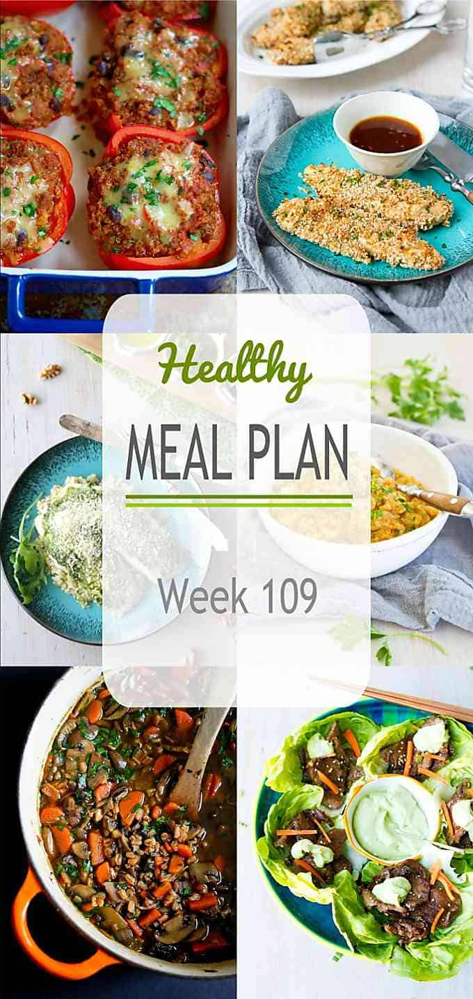 Fall is in full swing and we're celebrating with comforting soups, stews and other hearty dishes in this week's healthy meal plan. #mealplanning #mealprep