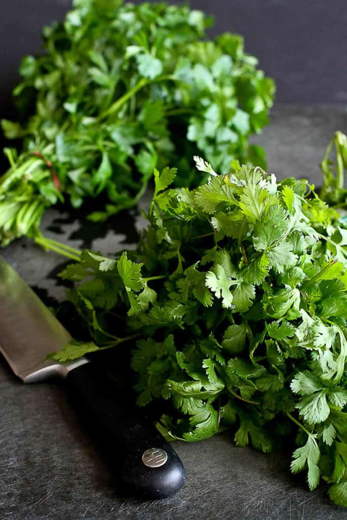 Learn how to chop parsley and cilantro properly so you can prepare them in seconds when prepping your next meal. No need to pull the leaves off of the stems! #parsley #howto #cooking