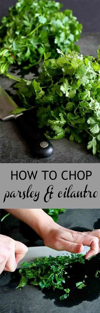 Do you struggle with knowing how to chop parsley or cilantro? This tutorial will show you the easiest way! #cookingtips #parsley #knifeskills