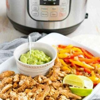 Instant Pot Chicken Fajitas with peppers and onions is a super quick, easy meal that the whole family loves. No worries if you don't have a pressure cooker - stovetop instructions are included. 238 calories and 0 Weight Watchers SP #instantpot #fajitas #pressurecooker #chickenrecipes