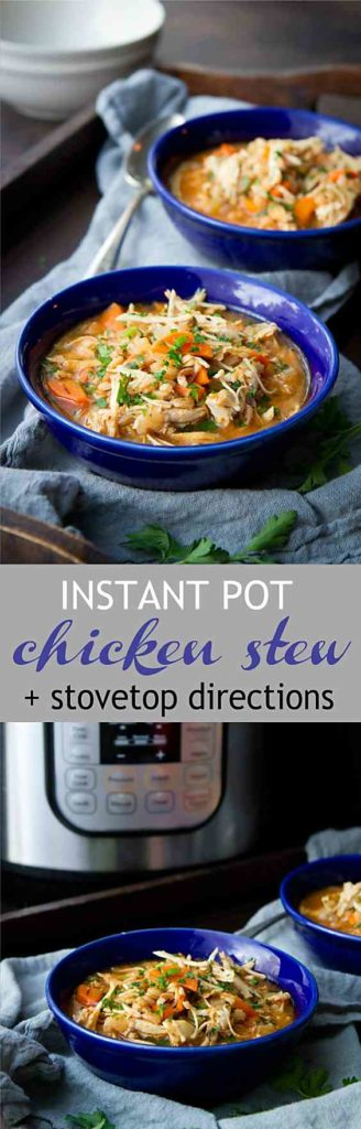 We make this hearty Instant Pot Chicken Stew throughout the fall and winter. Easy, healthy and so flavorful! 336 calories and 4 Weight Watchers Freestyle SP #pressurecookerrecipes #chickenstew #weightwatchers