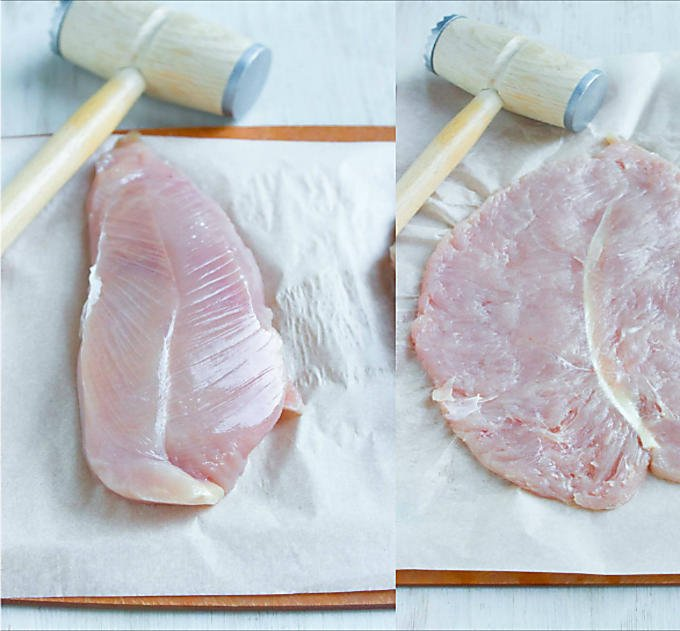 Collage of whole turkey breast tenderloin and flattened turkey breast