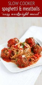 For a crowd pleaser, you just can't beat a slow cooker spaghetti recipe, particularly when meatballs are involved! Slow Cooker Spaghetti and Meatballs is always a family favorite. The lean meatballs are served in a delicious, easy homemade tomato sauce. | Crockpot Recipes | Crock Pot | Easy | Sauces | Baked | Italian | Easy #familydinner #pasta