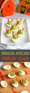 These mayo-less avocado deviled eggs are all dressed up for Halloween, but are fantastic snacks or appetizers any old time. 52 calories and 1 Weight Watchers Freestyle SP | Healthy | No Mayo | Easy | Halloween | Best | Simple | Tasty #deviledeggs #weightwatchers