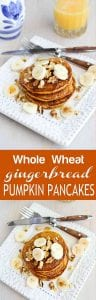 Our favorite pancakes! These healthy gingerbread pumpkin pancakes are fluffy and rich with spices. 136 calories and 4 Weight Watchers SmartPoints | Healthy | Easy | From Scratch | Best | Fluffy | Oatmeal | Kids #heatlhypancakes #healthybreakfastrecipes #christmasmorning #wwfreestyle