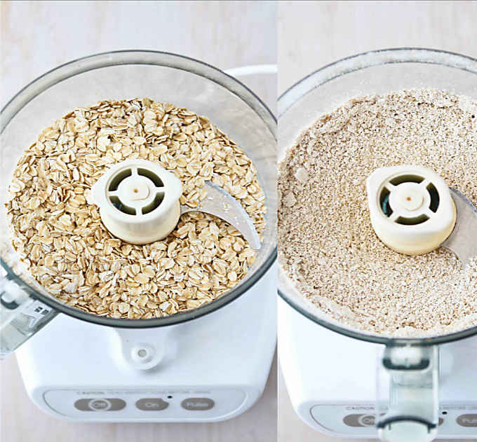 Making oat flour in the food processor