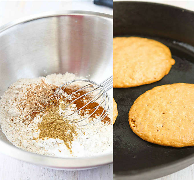 Collage of dried pancakes ingredients in a bowl and pancakes cooking in a skillet.