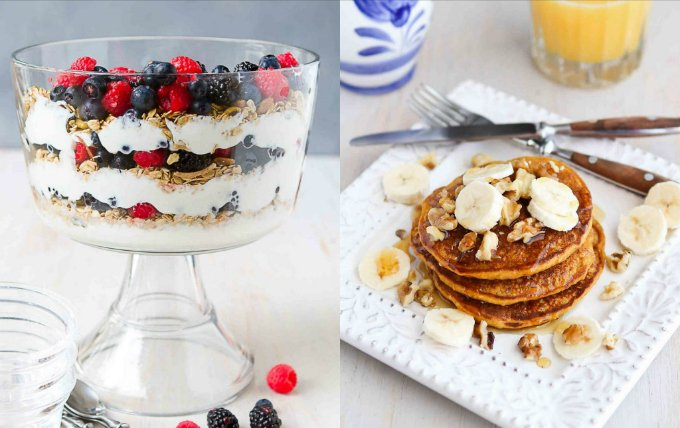 Collage of berry yogurt parfait trifle and gingerbread pumpkin pancakes