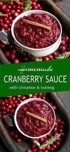 15 minutes is all you need for homemade cranberry sauce! This recipe is naturally sweetened with maple syrup, and spiced with cinnamon and nutmeg. 39 calories and 2 Weight Watchers SP | Thanksgiving | Easy | With Orange Juice | Healthy | Best #cranberrysauce #thanksgivingrecipes #holidayrecipes #healthyrecipes #weightwatchers