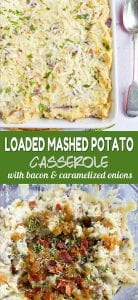 This loaded mashed potato casserole with bacon and caramelized onions just might steal the show on feast day! It's fantastic for as a Sunday dinner side dish, too. 141 calories and 4 Weight Watchers SP | Thanksgiving | Holidays | Make Ahead | Side Dishes | With Cream Cheese | Easy | Without Sour Cream | For A Crowd #thanksgivingrecipes #mashedpotatocasserole #mashedpotatoes #thanksgivingrecipes #Creamerpotatoes