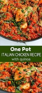 Made from staple pantry ingredients and a side of chicken, this easy and delicious One Pot Italian Chicken and Quinoa recipe is a lifesaver on a busy night. 264 calories and 5 Weight Watchers SP | Thighs | Healthy | Dinner | Recipes | Skillet #chickenrecipes #onepotmeal #weightwatchers #easydinners #onepotrecipes