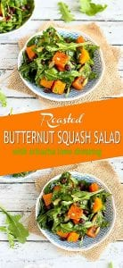Treat yourself to this colorful, healthy and vegan roasted butternut squash salad. The sriracha lime dressing adds a great kick! 219 calories and 2 Weight Watchers SP | Warm | Arugula | Vegan | Vegetarian | Black Beans | Healthy #butternutsquash #squashrecipes #meatlessmonday #vegetarianrecipes #dinnerrecipes