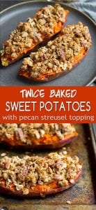 Ditch the marshmallows and top your holiday sweet potatoes with a lightened-up pecan streusel topping that's sweetened with maple syrup. 240 calories and 10 Weight Watchers SP | Healthy | Easy | Savory | Thanksgiving | Side Dish | Holiday Recipes | Vegan | Vegetarian | Make Ahead #sweetpotatorecipes #thanksgivingrecipes #sidedishes #weightwatchers #holidayrecipes