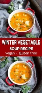 A recipe for a healthy and satisfying meal - this winter vegetable soup, with butternut squash and cauliflower is one to make again and again. 98 calories and 1 Weight Watchers SP | Healthy | Vegan | Vegetarian | Recipes #healthysouprecipes #lunchrecipes #healthysoups #wwfreestyle