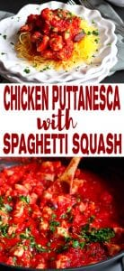 Spaghetti squash makes a fantastic, healthy meal when topped with an easy chicken puttanesca sauce. 220 calories and 1 Weight Watchers SP | Recipe | Authentic | Spicy | Gluten Free | Easy | Quick | Recipes #puttanescasauce #chickenrecipes #spaghettisquash #smartpoints #weightwatchers