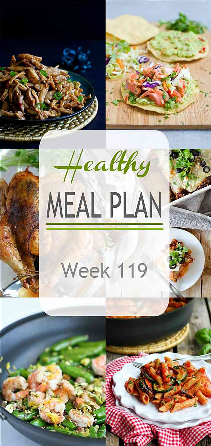 Eating light this week balances out all of those holiday treats! Week 119 of my Healthy Meal Plan has plenty of easy dinner ideas for the week ahead. | Meal Plan | Dinner | Meal Prep #mealplanning #mealprep #healthydinners