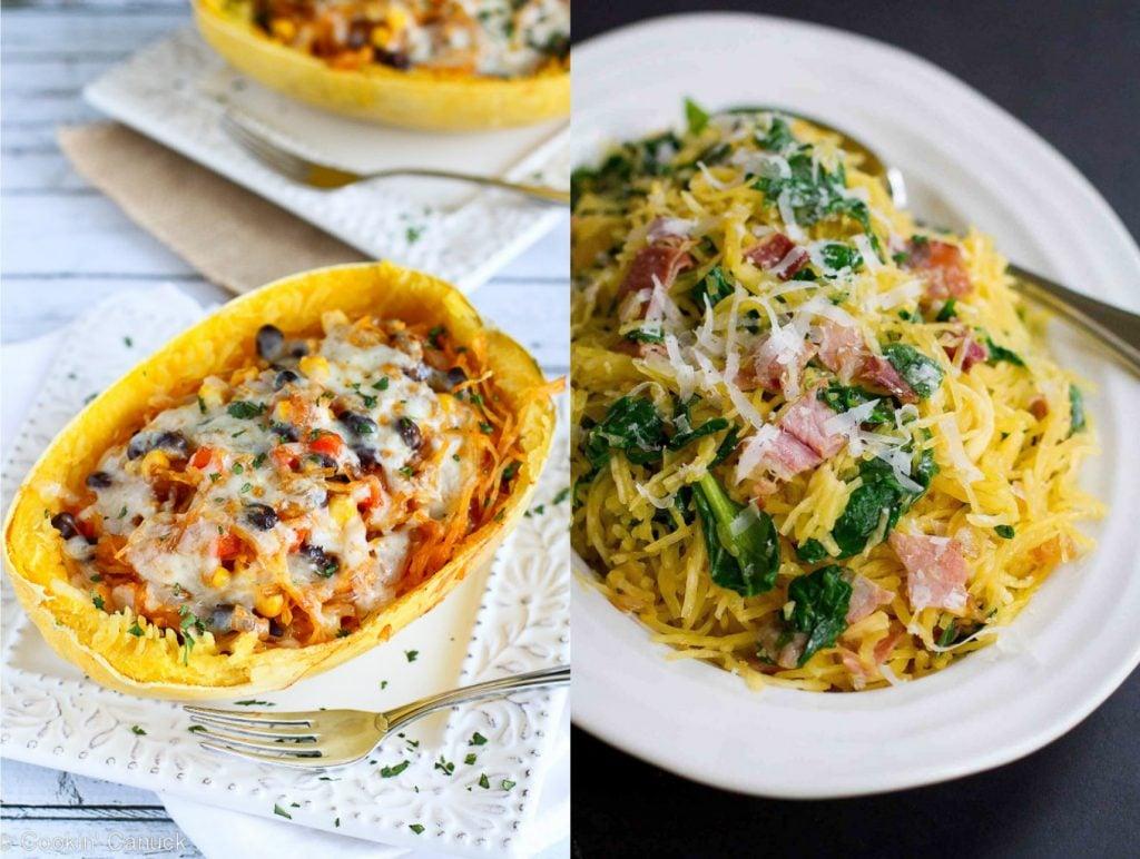 Collage of two spaghetti squash recipes