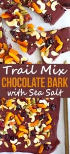 Whip up this pretty and delicious trail mix chocolate bark in no time! It's packed with great flavors and is perfect for dessert or gift-giving. 93 calories and 4 Weight Watchers SP | Desserts | Food Gifts | Homemade | Christmas | Holidays | Neighbor | Recipes | Dark | How To Make | Easy #chocolatebark #trailmix #christmasrecipes #neighborgifts #foodgifts