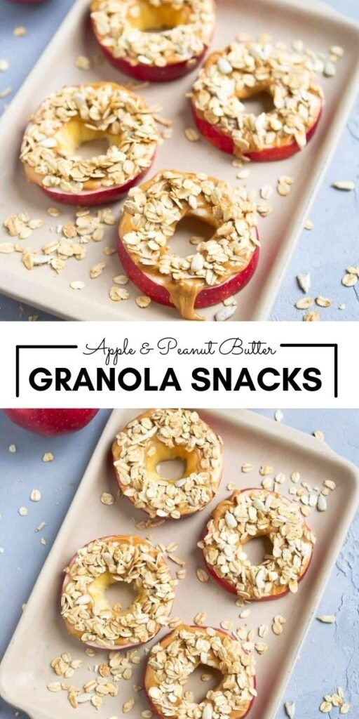 This 3-ingredient snack is popular with both kids and adults! Apple and Peanut Butter Granola Snacks help to curb those afternoon munchies. 126 calories and 3 Weight Watchers SP | Healthy | Snack | Breakfast | Vegan | Plant Based | Vegetarian | Gluten Free | Clean Eating | Apple with Peanut Butter