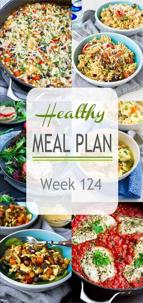 his week's healthy plan includes a one-pot meal, a family favorite soup and some fantastic roasted veggie dishes! | Meal Plan | Dinner | Meal Prep #mealplanning #mealprep #healthydinners