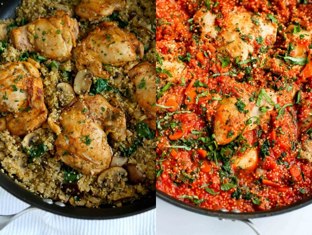 Collage of two healthy one pot meals