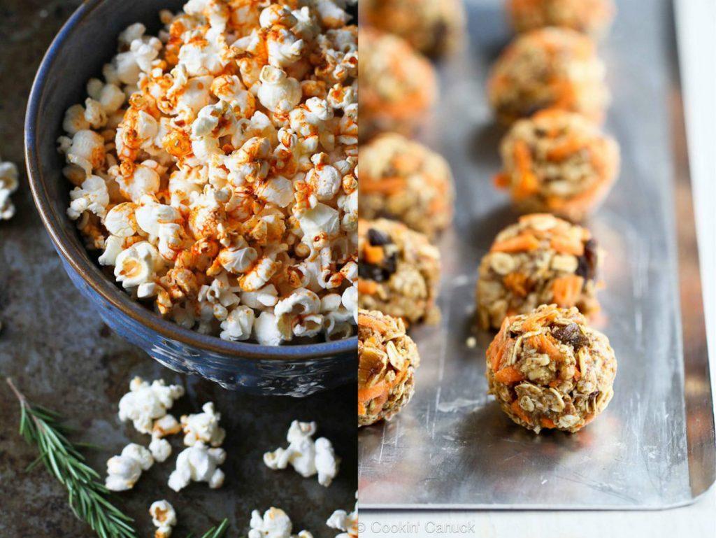 Easy healthy snacks - popcorn and granola bites