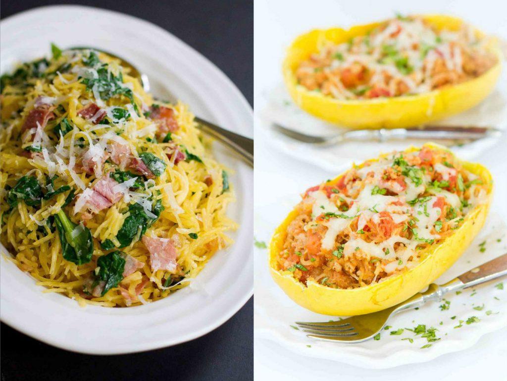 Collage of healthy spaghetti squash recipes