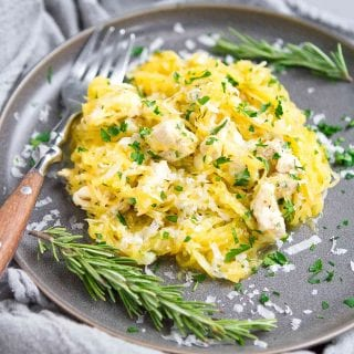 If there's someone in the family that doesn't like spaghetti squash, try out this Parmesan Herb Spaghetti Squash recipe on them. It changed my son's mind! 244 calories and 3 Weight Watchers SP | Healthy | Easy | Quick | Garlic | Low Carb | Gluten Free | Chicken | Dinner #spaghettisquash #wwrecipes #smartpoints #chickenrecipes #healthydinnerrecipes