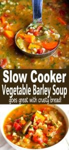 This Slow Cooker Vegetable Barley Soup recipe couldn't be easier. Just throw everything in the crockpot and walk away! Healthy, delicious and packed with nutrients. 164 calories and 4 Weight Watchers SP | Vegetarian | Vegan | Easy | Best | Veggie | Simple #crockpotrecipes #slowcookerrecipes #souprecipes #weightwatchers #weightwatchersrecipes #veganrecipes