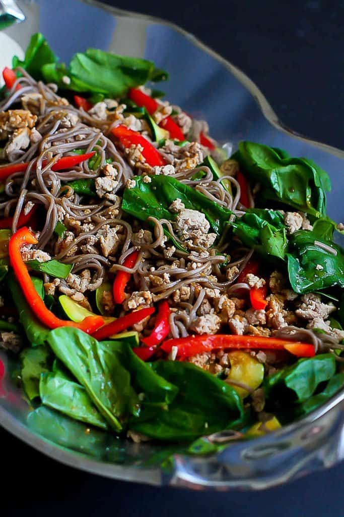 Soba Noodle Salad With Turkey Spinach Healthy Dinner Recipe