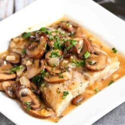 Baked Halibut Marsala Recipe with Mushrooms