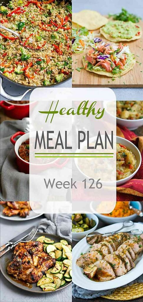 Vegetarian, salmon, chicken and pork...from stews to air fryer meal, the recipes in this week's healthy meal plan cover all the bases! #mealplanning #dinner