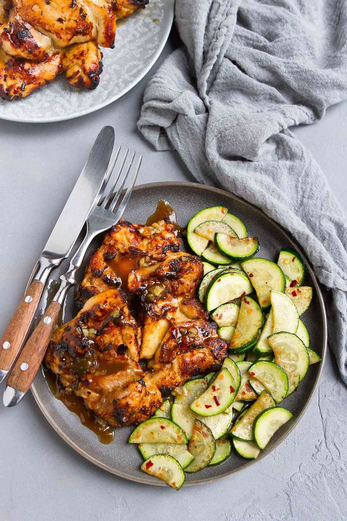 Honey balsamic chicken has never tasted so good. Perfectly done and glazed in this easy Air Fryer recipe. 276 calories and 7 Weight Watchers SP   Boneless   Skinless   Healthy   Gluten Free   Fast   Marinade #airfryer #chickenthighs #chickenrecipes #airfryerchicken #wwrecipes #weightwatchers #cleaneating