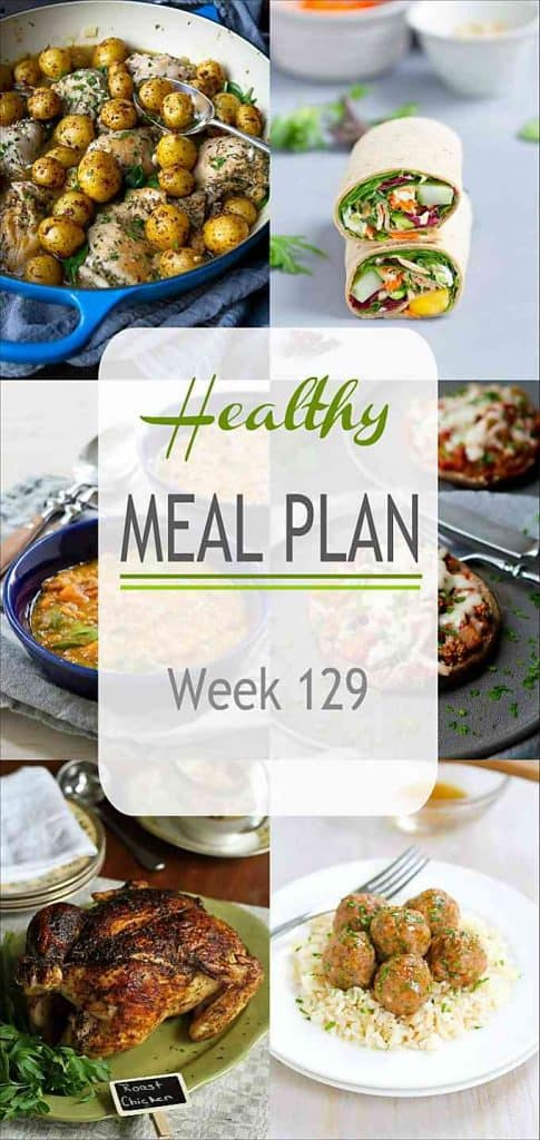 This week's healthy meal plan includes a couple of vegetarian meals, a couple of comforting chicken recipes and more! #mealplanning #mealplan #dinner #healthydinnerideas